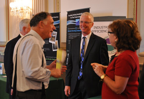 Paul Hamilton, chair of the Industrial Energy Efficiency Coalition, speaks with Expo attendees