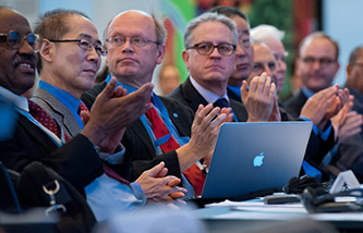 Opening Ceremony of the Fortieth Session of the IPCC, Copenhagen, Denmark, 27 October 2014. From left to right: Dr. Ismail A.R. El Gizouli, Vice-Chair of the IPCC; Dr Hoesung Lee, Vice-Chair of the IPCC; Dr Jean-Pascal van Ypersele, Vice-Chair of the IPCC; Dr Thomas Stocker, Co-Chair of WG I. Courtesy: IPCC