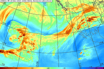 Satellite imagery of water vapor levels shows a large atmospheric river aimed at California. Credit: U.S. Naval Research Laboratory, Monterey.