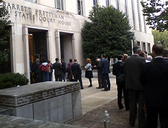 Waiting in line to witness the Clean Power Plan oral arguments at the D.C. Circuit Court of Appeals (photo by Brian La Shier)