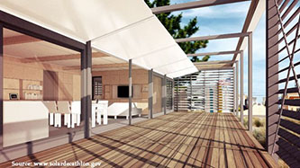 A virtual view of the SURE HOUSE (Courtesy: Dept. of Energy Solar Decathlon)