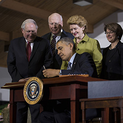 President Obama signs the Farm Bill in East Lansing, MI