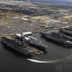 Norfolk Navy Base in Virginia, the world's largest naval station, is vulnerable to climate change.