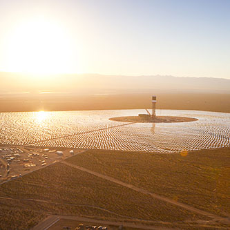 NRG Energy is a major investor in the Ivanpah concentrated solar power plant, located in the Mojave Desert (Courtesy: BrightSource Energy)