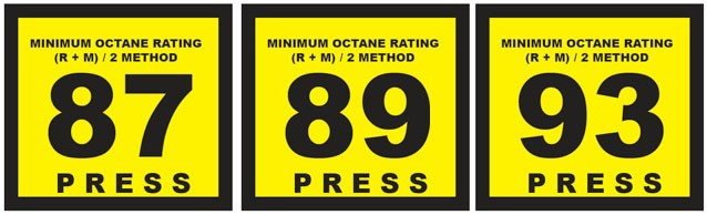 Fig. 1: octane rating of gasoline, as displayed at a typical gas station.