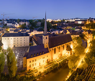 Panoramic view of Luxembourg city at dusk (photo by Benh Lieu Song)