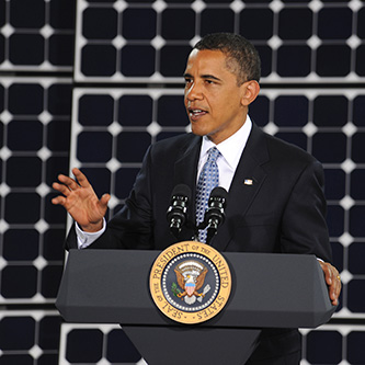 President Barack Obama addressing an audience at the Nellis Solar Power Plant in 2009 (Courtesy of Senior Airman Brian Ybarbo)