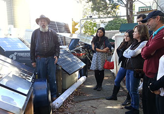 Scott Sklar gives a tour of his net-zero energy home in Arlington, VA (Photo: Carlos Villacis)