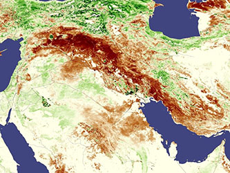 Deeper brown colors indicate areas where vegetation was significantly sparser than usual in April 2008 (up to 100 percent less than the long term average). Courtesy: NASA