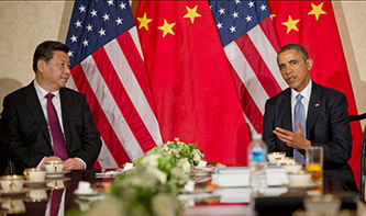 U.S. President Barack Obama during a bilateral meeting with Chinese President Xi Jinping (Photo U.S. Embassy in the Hague)