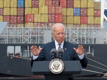 Vice President Biden speaks at the Port of Baltimore Credit: AP
