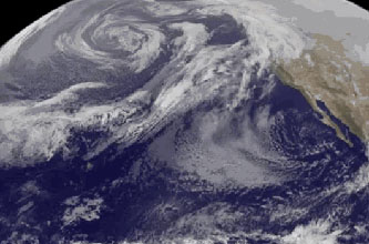 Satellite imagery captured the movement of a stream of clouds associated with an atmospheric river storm. Credit: NASA/NOAA GOES Project, Dennis Chesters